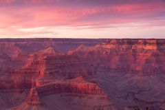 Grand Canyon National Park at Sunset in Winter with a View from the South Rim. stock photography