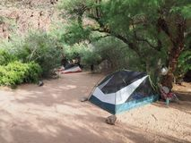 Campsite at Granite Rapids in Grand Canyon National Park. stock photos