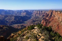 Grand Canyon nationalpark på en klar sommardag Royaltyfri Foto