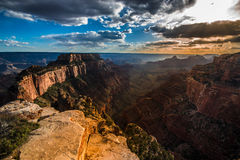 Grand Canyon North Rim Cape Royal Overlook at Sunset Wotans Thro Royalty Free Stock Image