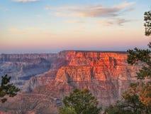Grand Canyon. Orange shadow sunrays sunset Stock Images