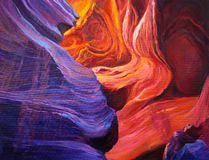 Grand Canyon. Original oil painting of the Grand Canyon inside a cave on canvas.Modern Impressionism royalty free illustration