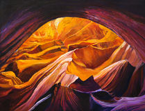 Grand Canyon. Original oil painting of the Grand Canyon inside a cave on canvas.Modern Impressionism stock illustration