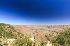Grand Canyon, orlo del sud, giorno soleggiato con cielo blu Immagine Stock Libera da Diritti
