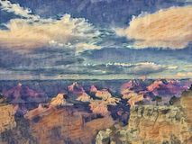 Grand Canyon painting. With clouds and sky stock illustration