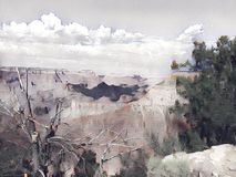Grand Canyon painting. With clouds and sky vector illustration