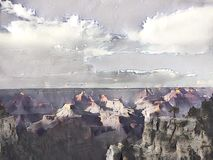 Grand Canyon painting. With clouds and sky royalty free illustration
