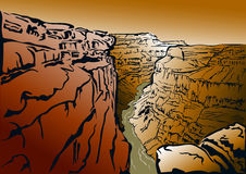 Grand Canyon. Panorama of the Grand Canyon and the Colorado River stock illustration