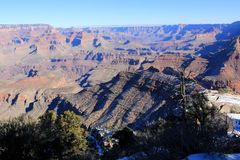 Grand Canyon Panorama in a sunset view Stock Photos