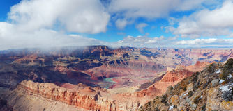 Grand Canyon panorama view in winter with snow Stock Photos