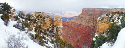 Grand Canyon panorama view in winter with snow Stock Photo