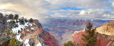 Grand Canyon panorama view in winter with snow Royalty Free Stock Image