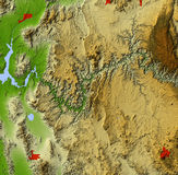 Grand Canyon, relief map. Grand Canyon. Shaded relief map. Shows major urban areas and water bodies. Colored according to relative elevation. Data sources: US stock illustration