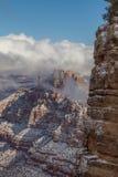 Grand Canyon södra Rim Snow Arkivfoto