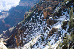 Grand Canyon's Snowy Bright Angel Trail. Bright Angel Trail down to the bottom of the Grand Canyon stock photography