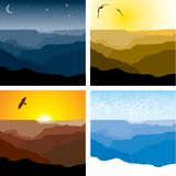 Grand Canyon through the seasons. Set of four illustrations of the Grand Canyon representing winter, sunset, sunrise and night time. Also available in  format Royalty Free Stock Image