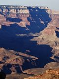 Grand Canyon Shadows. Shadows throughout the strata of the Grand Canyon stock photo