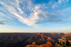 Grand Canyon skyline in evening sunlight Royalty Free Stock Images