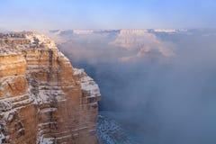 Grand Canyon snö täckt landskap Royaltyfri Fotografi