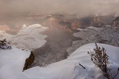 Grand Canyon in snow Royalty Free Stock Image