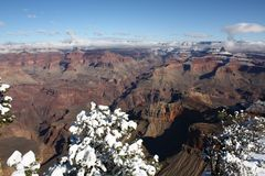 Grand Canyon with snow in winter Royalty Free Stock Photography