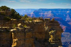 Grand Canyon South Rim Tourist area. Photo of tourist area on South Rim of Grand Canyon National Park stock photo