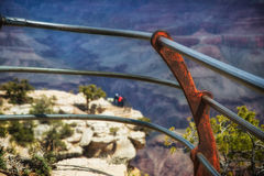 Grand Canyon, South Rim. View point railing at south rim and lower view point between railing Royalty Free Stock Photography