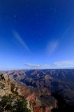 Grand Canyon with star trial at night Royalty Free Stock Images