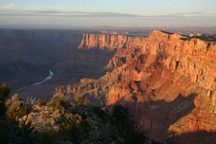 Grand Canyon at sunset. View of the Grand Canyon and Colorado river at sunset from Desert view point Royalty Free Stock Images