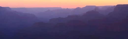 Grand Canyon Sunset Panorama Royalty Free Stock Photography