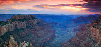 Grand Canyon Sunset panorama. Wild panoramic landscape in the Arizona desert, USA Royalty Free Stock Photos