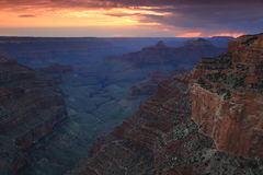 Grand Canyon Sunset panorama Stock Photos