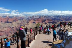 Grand Canyon tourists Stock Images