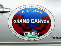 Grand Canyon Tours. Company, sign on car Royalty Free Stock Photography
