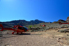 Grand Canyon, view of helicopters Royalty Free Stock Photography