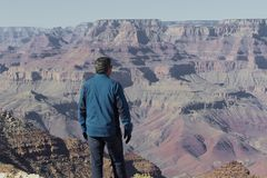 Grand Canyon view from a man. Man in blue jacket looking out over the Grand Canyon Stock Images