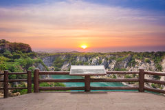 Grand canyon view point at the tourist attraction. From the past of ore mine at sunrise in Thailand Royalty Free Stock Photo