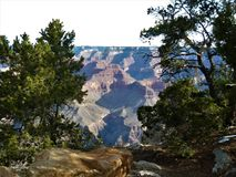 Grand Canyon view from south rim. View of Grand Canyon from the south rim along Hermit`s Rest drive in March Stock Photography