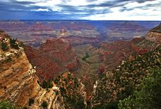 Grand Canyon with a view of the trails Royalty Free Stock Photo