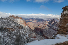 Grand Canyon vintersnö Arkivfoto