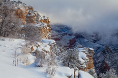Grand Canyon Winter Snow Stock Photo