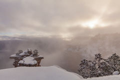 Grand Canyon Winter at Sunrise Stock Images