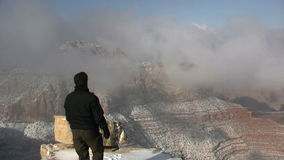 Grand Canyon Winter Tourist Stock Photography