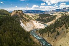 Grand Canyon of the Yellowstone. Overview over Grand Canyon of the Yellowstone royalty free stock photos