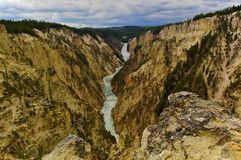 Grand Canyon of the Yellowstone and Lower Falls, Yellowstone National Park, USA Stock Image