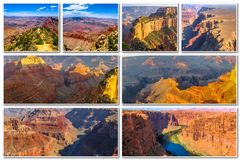 Grand Canyon -zonsondergangcollage Royalty-vrije Stock Afbeeldingen