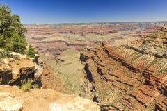 Grand Canyon, zuidenrand, zonnige dag met blauwe hemel Stock Afbeelding