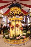 The Grand Carousel Garden as a part of the `Carnival` theme flower decoration during famous Macy`s Annual Flower Show stock image