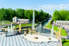 Grand cascade fountains in Petergof Stock Photography