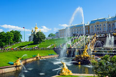 Grand cascade fountains in Petergof, St. Petersburg, Russia Stock Photos